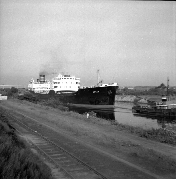 image 123 - 'morar' (iron ore carrier) approaching thelwall ferry having discharged at irlam steel works