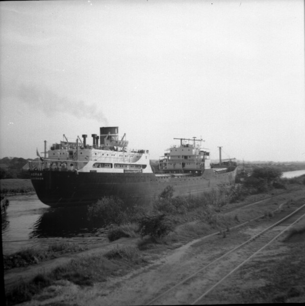image 124 - 'morar' (iron ore carrier) passing thelwall ferry having discharged at irlam steel works